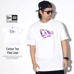 NEW ERA ニューエラ 半袖Tシャツ コットン Tシャツ カラーカモ フラッグロゴ ホワイト 11901403