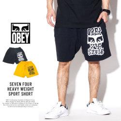 OBEY オベイ スウェットハーフパンツ SEVEN FOUR HEAVY WEIGHT SPORT SHORT 176921901