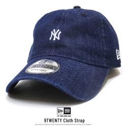 NEW ERA ニューエラ カーブバイザーキャップ 9TWENTY クロスストラップ ニューヨーク・ヤンキース ミニロゴ ウォッシュドデニム × ホワイト 11914536