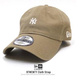 NEW ERA ニューエラ カーブバイザーキャップ 9TWENTY クロスストラップ ニューヨーク・ヤンキース ミニロゴ カーキ × ホワイト 11914537