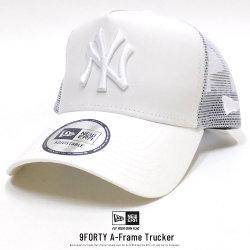 NEW ERA ニューエラ カーブバイザーキャップ メッシュキャップ 9FORTY A-Frame トラッカー タイプライター ニューヨーク・ヤンキース バニラホワイト × ホワイト