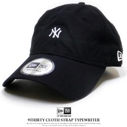 NEW ERA ニューエラ カーブバイザーキャップ 9THIRTY クロスストラップ タイプライター ニューヨーク・ヤンキース ピュアブラック × ホワイト 11901270