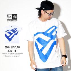 NEW ERA ニューエラ コットン Tシャツ ズームアップ フラッグ ホワイト × ブルー 11901367