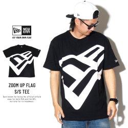 NEW ERA ニューエラ コットン Tシャツ ズームアップ フラッグ ブラック × ホワイト 11901369