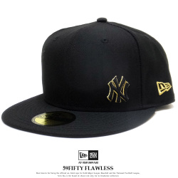 NEW ERA ニューエラ フラットバイザーキャップ 59FIFTY ニューヨーク・ヤンキース フローレス ブラック × ゴールド 12028786