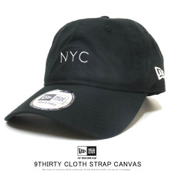 NEW ERA ニューエラ カーブバイザーキャップ 9THIRTY クロスストラップ キャンバス nyc ミニロゴ ブラック × スノーホワイト 12109005
