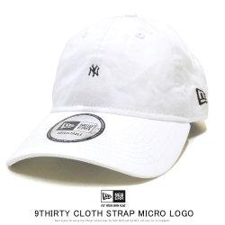 NEW ERA ニューエラ カーブバイザーキャップ 9THIRTY クロスストラップ マイクロロゴ ニューヨーク・ヤンキース ホワイト × ブラック 12109016