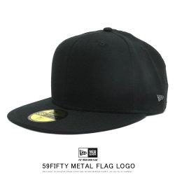 NEW ERA ニューエラ フラットバイザーキャップ 59FIFTY メタルフラッグロゴ ブラック ブラッシュガンメタル 12109103