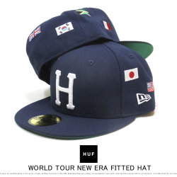 HUF ハフ フラットバイザーキャップ 59FIFTY WORLD TOUR NEW ERA FITTED HAT HT00378