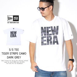 NEW ERA ニューエラ 半袖Tシャツ コットン Tシャツ タイガーストライプカモグレー スクエア ニューエラ ホワイト 12108179