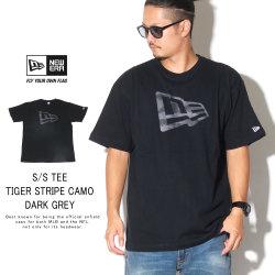 NEW ERA ニューエラ 半袖Tシャツ コットン Tシャツ タイガーストライプカモグレー フラッグ ブラック 12108194