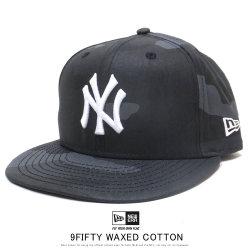 NEW ERA ニューエラ フラットバイザーキャップ 9FIFTY ワックスドコットン ニューヨーク・ヤンキース ミッドナイトカモ × スノーホワイト 12108861
