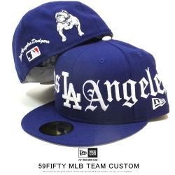 NEW ERA ニューエラ フラットバイザーキャップ 59FIFTY MLB ホームタウン エンブロイダリー ロサンゼルス・ドジャース ダークロイヤル × スノーホワイト 12109114