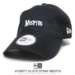 NEW ERA ニューエラ カーブバイザーキャップ 9THIRTY クロスストラップ MISFITS ミスフィッツ ロゴ ブラック 12110792