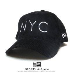 NEW ERA ニューエラ カーブバイザーキャップ 9FORTY A-Frame コーデュロイ NYC ロゴ ブラック 12108924