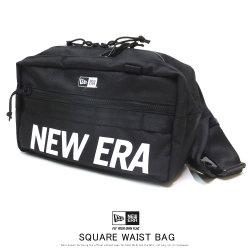 NEW ERA ニューエラ スクエア ウエストバッグ 7L プリントロゴ ブラック × ホワイト 12108396