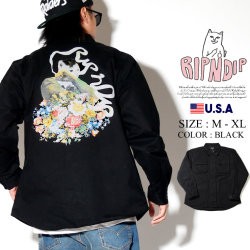 RIPNDIP リップンディップ ワークシャツ メンズ 長袖 花 猫 ネコ ストリート系 ファッション Flower Burst Cotton Work Shirt 服 通販