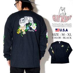 RIPNDIP リップンディップ 長袖Tシャツ ロンT メンズ 猫 ネコ 花 ストリート系 ファッション Blooming Nerm L/S 服 通販