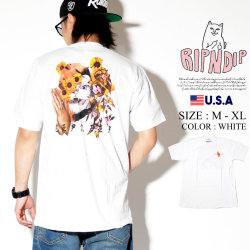 RIPNDIP リップンディップ Tシャツ メンズ 半袖 猫 ネコ ひまわり プレイハンド ストリート系 ファッション Chaos Tee 服 通販