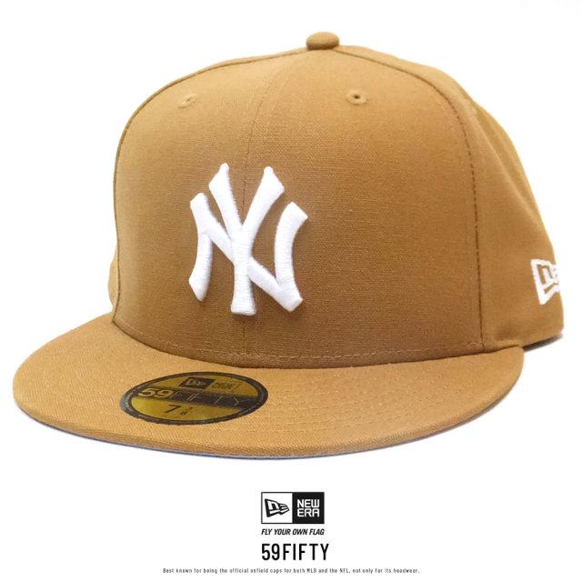 NEW ERA (ニューエラ) キャップ 59FIFTY ニューヨーク・ヤンキース ダックキャンバス ウーブンパッチ タン×スノーホワイト (12326423)