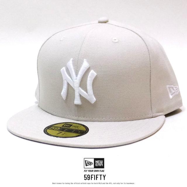 NEW ERA (ニューエラ) キャップ 59FIFTY ニューヨーク・ヤンキース ダックキャンバス ウーブンパッチ ストーン×スノーホワイト (12326424)