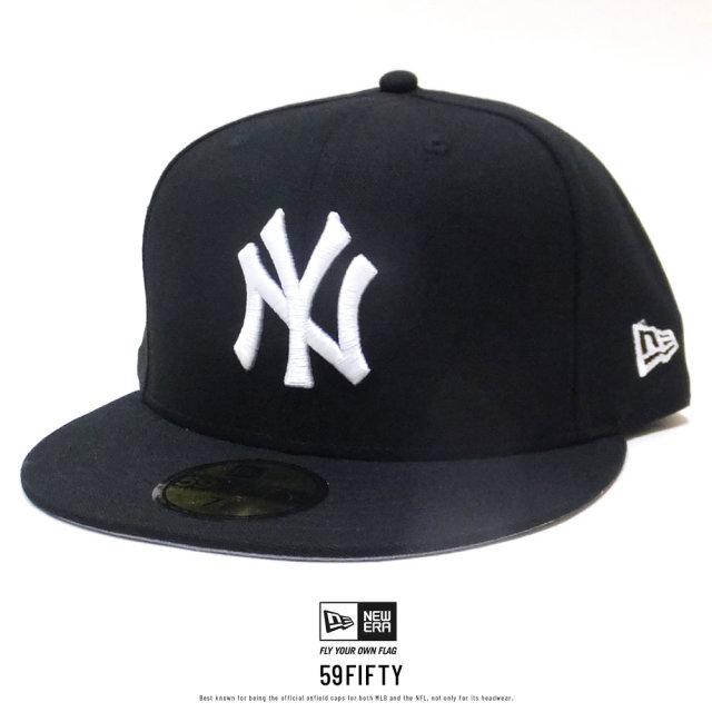 NEW ERA (ニューエラ) キャップ 59FIFTY ニューヨーク・ヤンキース ダックキャンバス ウーブンパッチ ブラック×スノーホワイト (12326426)