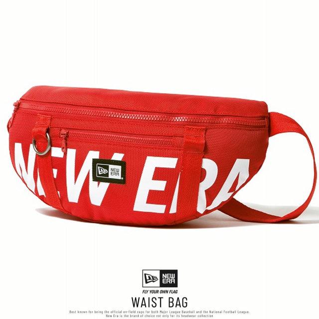 NEW ERA (ニューエラ) ウエストバッグ WAIST BAG プリントロゴ レッド×ホワイト (12325605)
