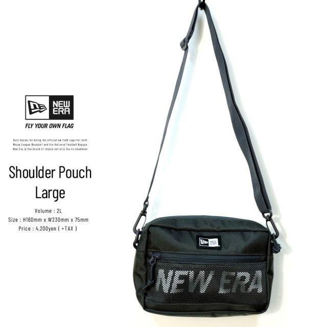 NEW ERA (ニューエラ) ショルダーポーチ ラージ SHOULDER POUCH L プリントロゴ ブラック×ホワイト (12325633)