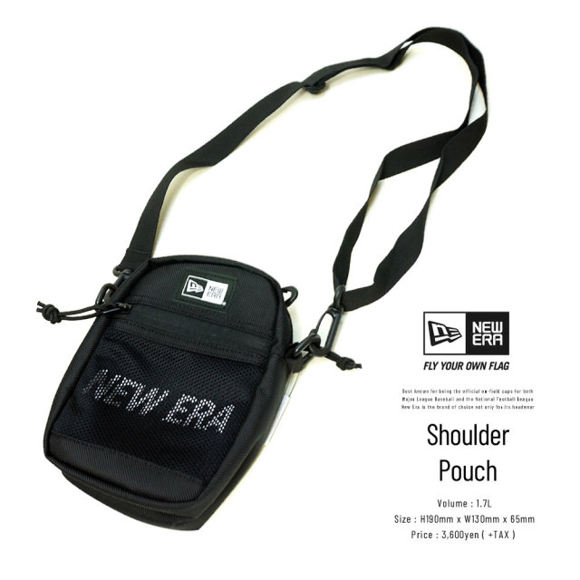 NEW ERA (ニューエラ) ショルダーポーチ SHOULDER POUCH 2 プリントロゴ ブラック×ホワイト (12325640)