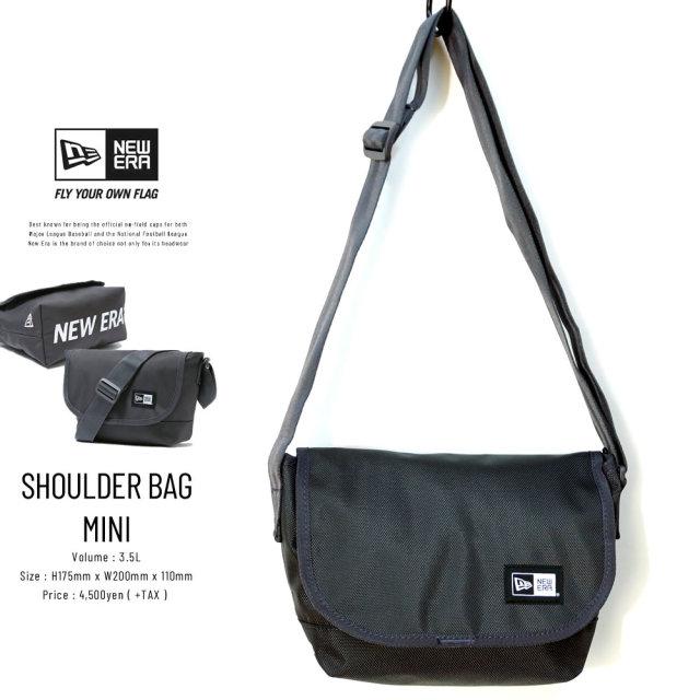 NEW ERA (ニューエラ) ショルダーバッグ ミニ SHOULDER BAG MINI プリントロゴ グラファイト×ホワイト (12325643)