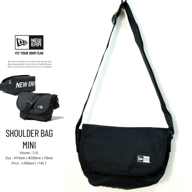 NEW ERA (ニューエラ) ショルダーバッグ ミニ SHOULDER BAG MINI プリントロゴ ブラック×ホワイト (12325646)