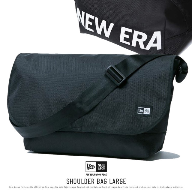 NEW ERA (ニューエラ) ショルダーバッグ ラージ SHOULDER BAG LARGE プリントロゴ ブラック×ホワイト (12325647)