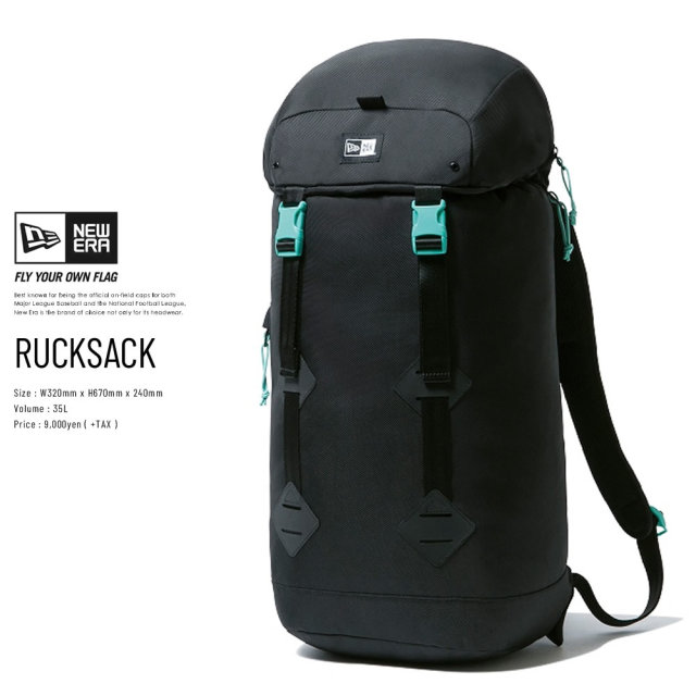 NEW ERA (ニューエラ) バックパック RUCK SACK プリントロゴ ブラック/ミントブルー (12325658)
