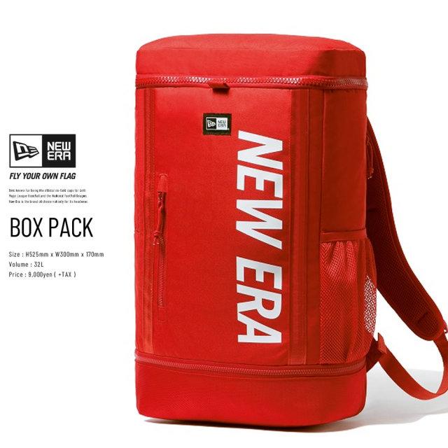 NEW ERA (ニューエラ) バックパック BOX PACK プリントロゴ レッド×ホワイト (12326109)