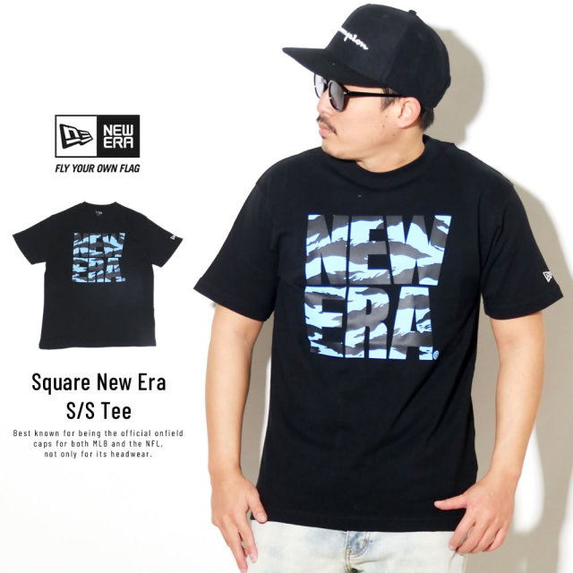 NEW ERA (ニューエラ) 半袖Tシャツ COTTON SHORT SLEEVE T-SHIRT タイガーストライプカモ スクエアニューエラ ブラック×ブラック ライトブルー (12325145)