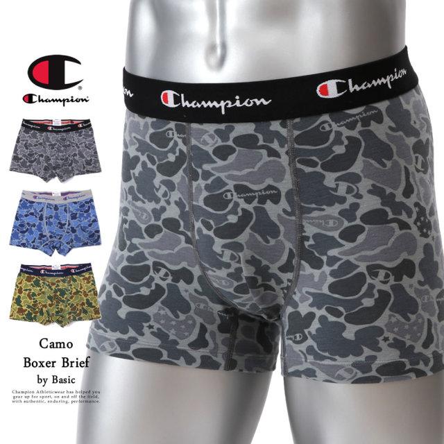 Champion (チャンピオン) ボクサーパンツ メンズ アンダーウェア 下着 吸汗速乾 Doubledry Stretch Jersey カモフラ総柄ボクサーブリーフ (CM6-R204)