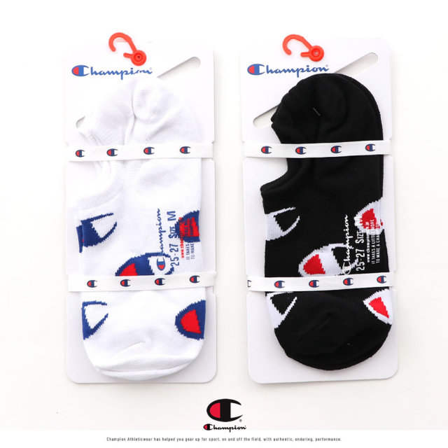 Champion (チャンピオン) カバーソックス メンズ 靴下 ゴーストソックス ロゴ総柄 1P ノンパイル (CMSAR503)