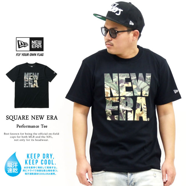 NEW ERA (ニューエラ) 半袖パフォーマンスTシャツ ボタニカル スクエアニューエラ ブラック (12325118)
