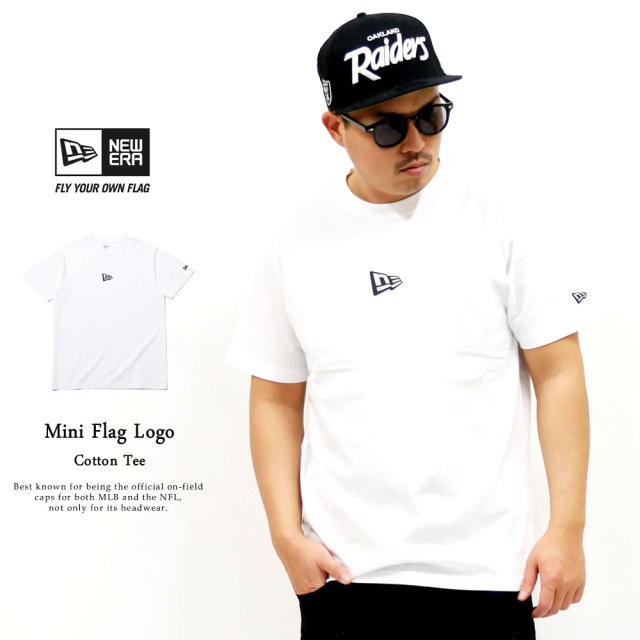NEW ERA (ニューエラ) 半袖Tシャツ ミニフラッグロゴ ホワイト×ブラック (12325171)