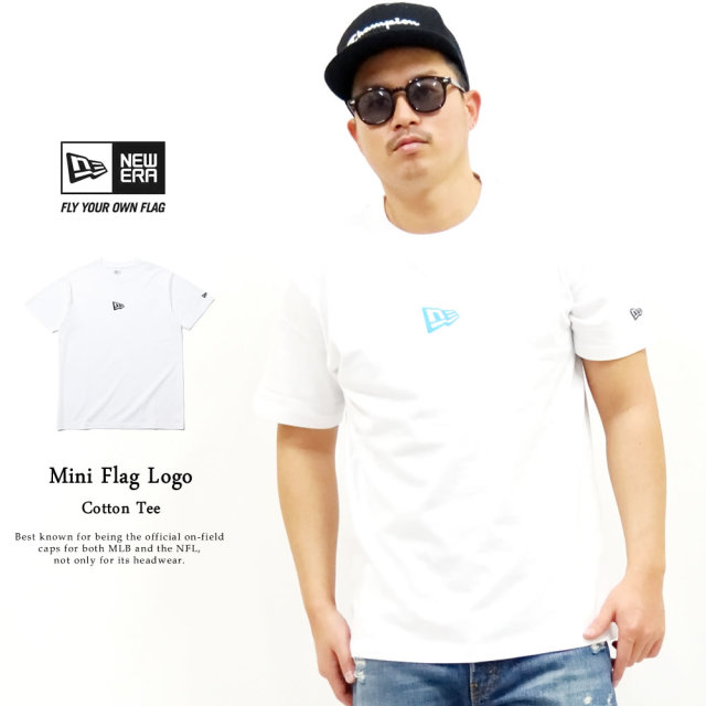 NEW ERA (ニューエラ) 半袖Tシャツ ミニフラッグロゴ ホワイト×ネオンブルー (12325173)