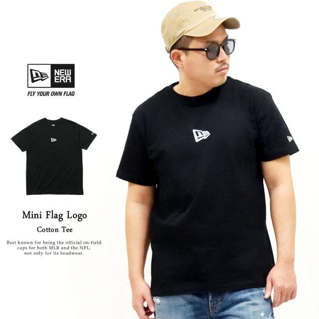 NEW ERA (ニューエラ) 半袖Tシャツ ミニフラッグロゴ ブラック×ホワイト (12325174)