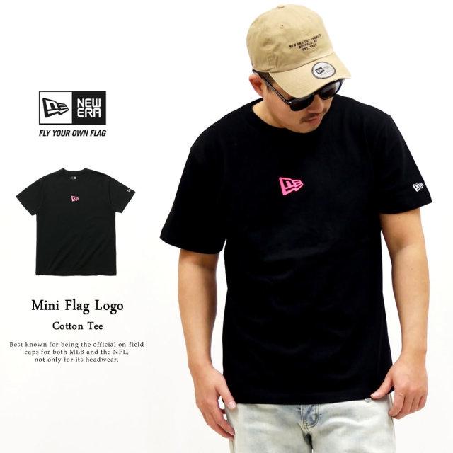NEW ERA (ニューエラ) 半袖Tシャツ ミニフラッグロゴ ブラック×ネオンピンク (12325175)
