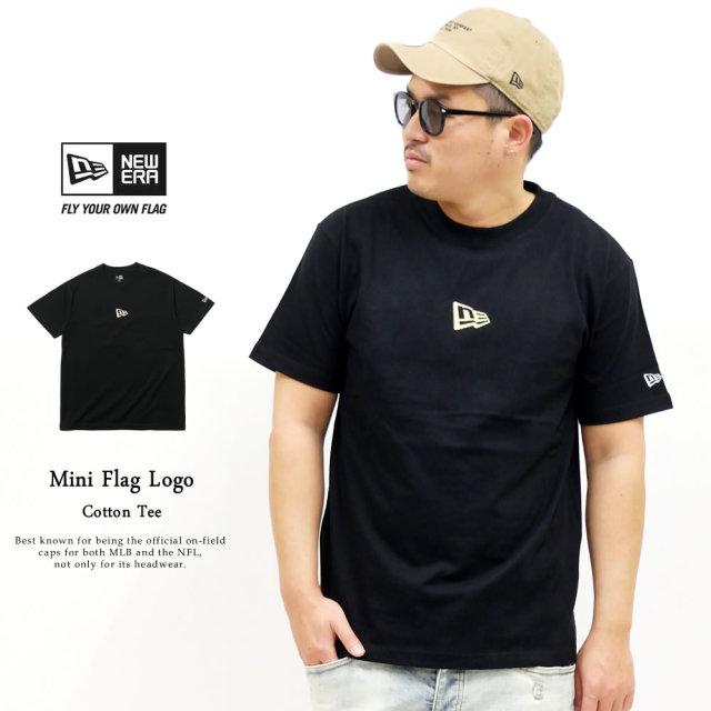 NEW ERA (ニューエラ) 半袖Tシャツ ミニフラッグロゴ ブラック×ゴールド (12325176)