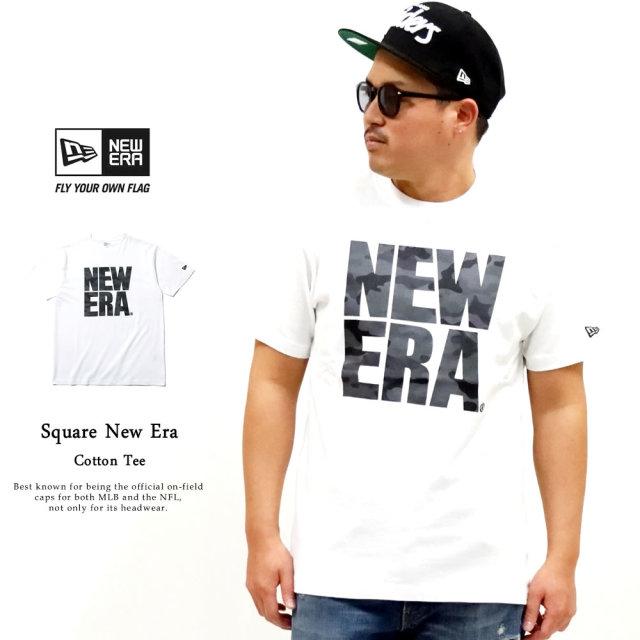 NEW ERA (ニューエラ) 半袖Tシャツ ウッドランドカモダーク スクエアニューエラ ホワイト (12325180)