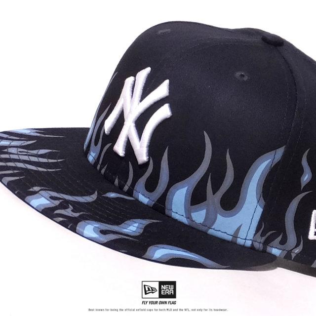 NEW ERA (ニューエラ) キャップ 帽子 メンズ レディース 9FIFTY ファイヤーパターン ニューヨーク・ヤンキース ネイビー×スノーホワイト (12479414)