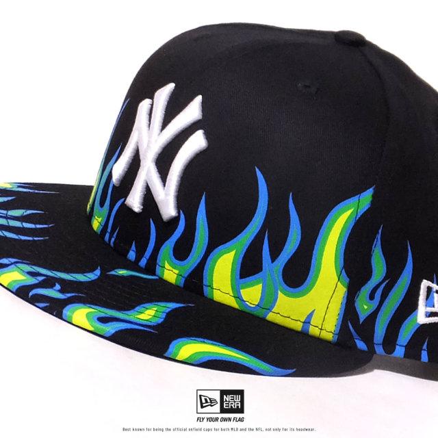 NEW ERA (ニューエラ) キャップ 帽子 メンズ レディース 9FIFTY ファイヤーパターン ニューヨーク・ヤンキース ブラック×スノーホワイト (12479415)