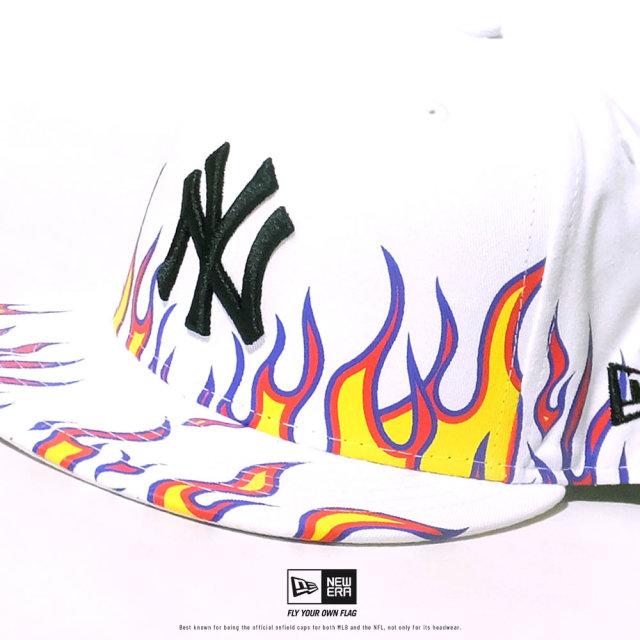 NEW ERA (ニューエラ) キャップ 帽子 メンズ 59FIFTY ファイヤーパターン ニューヨーク・ヤンキース ホワイト×ブラック (12479432)