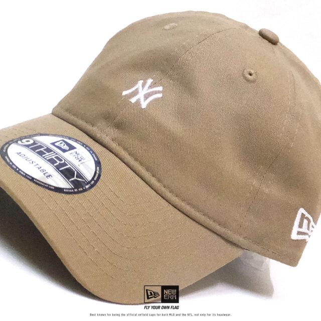 ニューエラ NEW ERA キャップ メンズ 帽子 9THIRTY ノンウォッシュ コットンツイル ニューヨーク・ヤンキース ミニロゴ カーキ×スノーホワイト (12326354) 2020SS