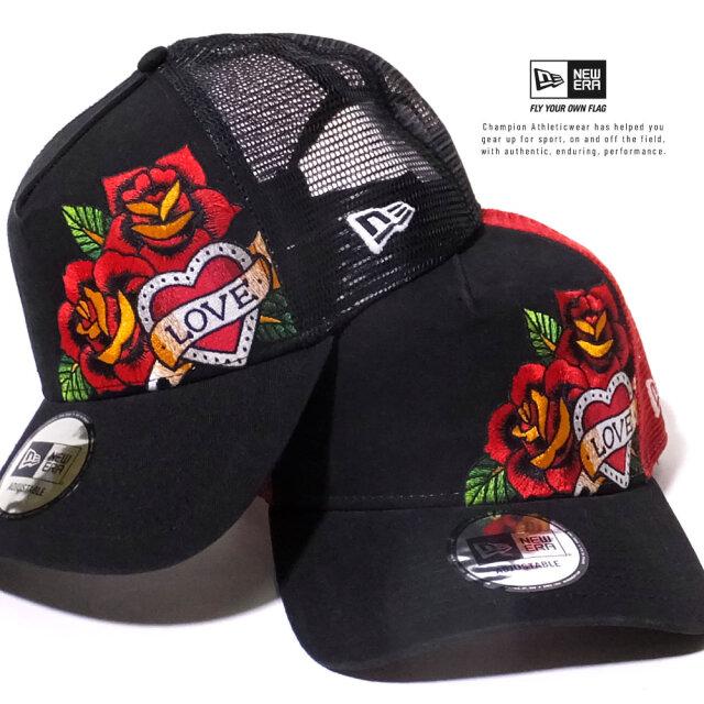 ニューエラ NEW ERA メッシュキャップ メンズ 帽子 9FORTY A-Frame トラッカー タトゥーモチーフ ローズ 2020SS