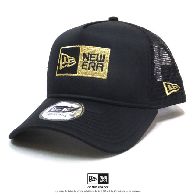 NEW ERA (ニューエラ) メッシュキャップ 9FORTY A-Frame トラッカー ボックスロゴ ブラック×メタリックゴールド (12326276)